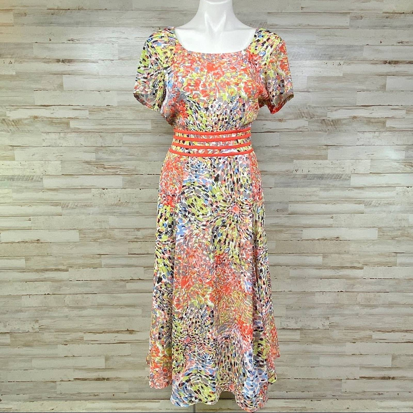 eShakti Watercolor Splash Chiffon Dress