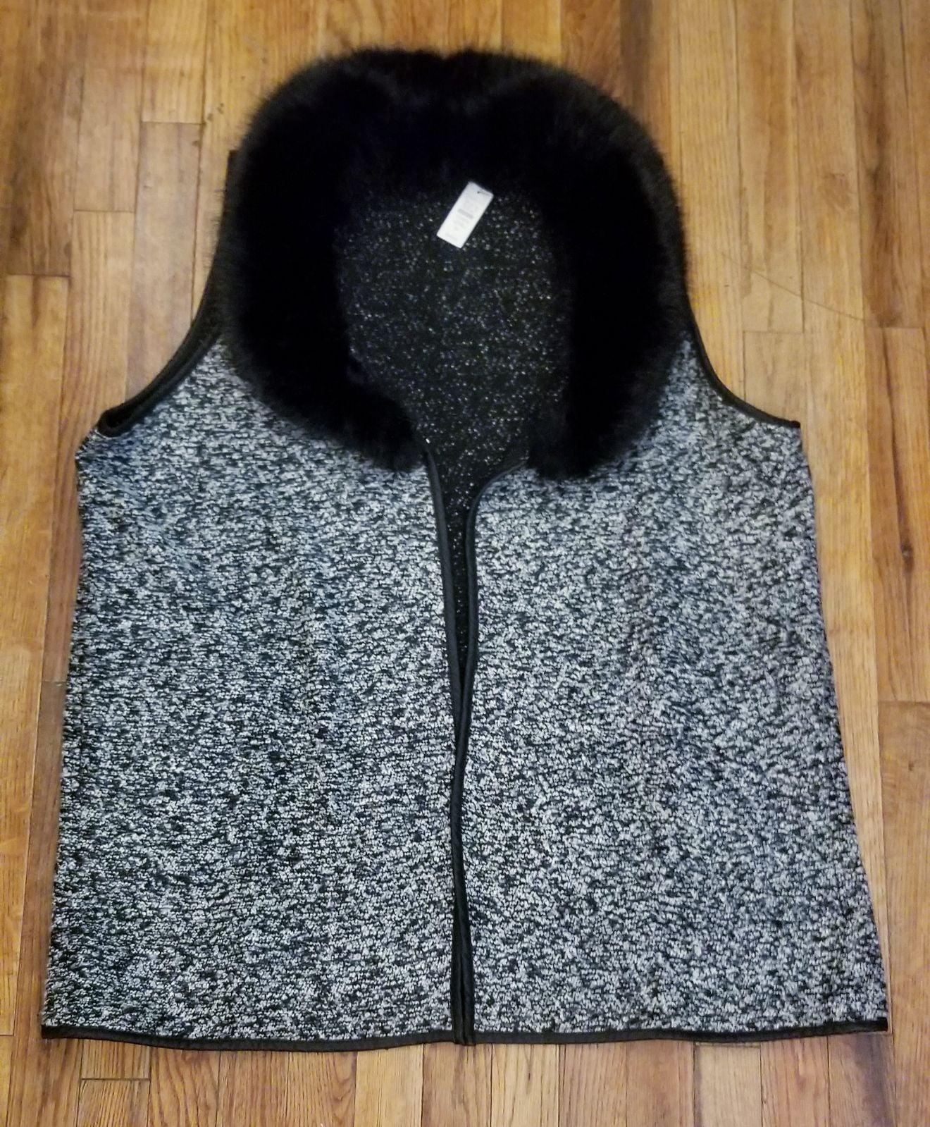 Womens PLUS TALBOTS Fur Collar Vest 2X