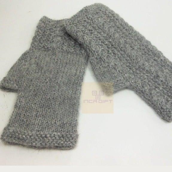 Gray Handmade Alpaca Fingerless Gloves