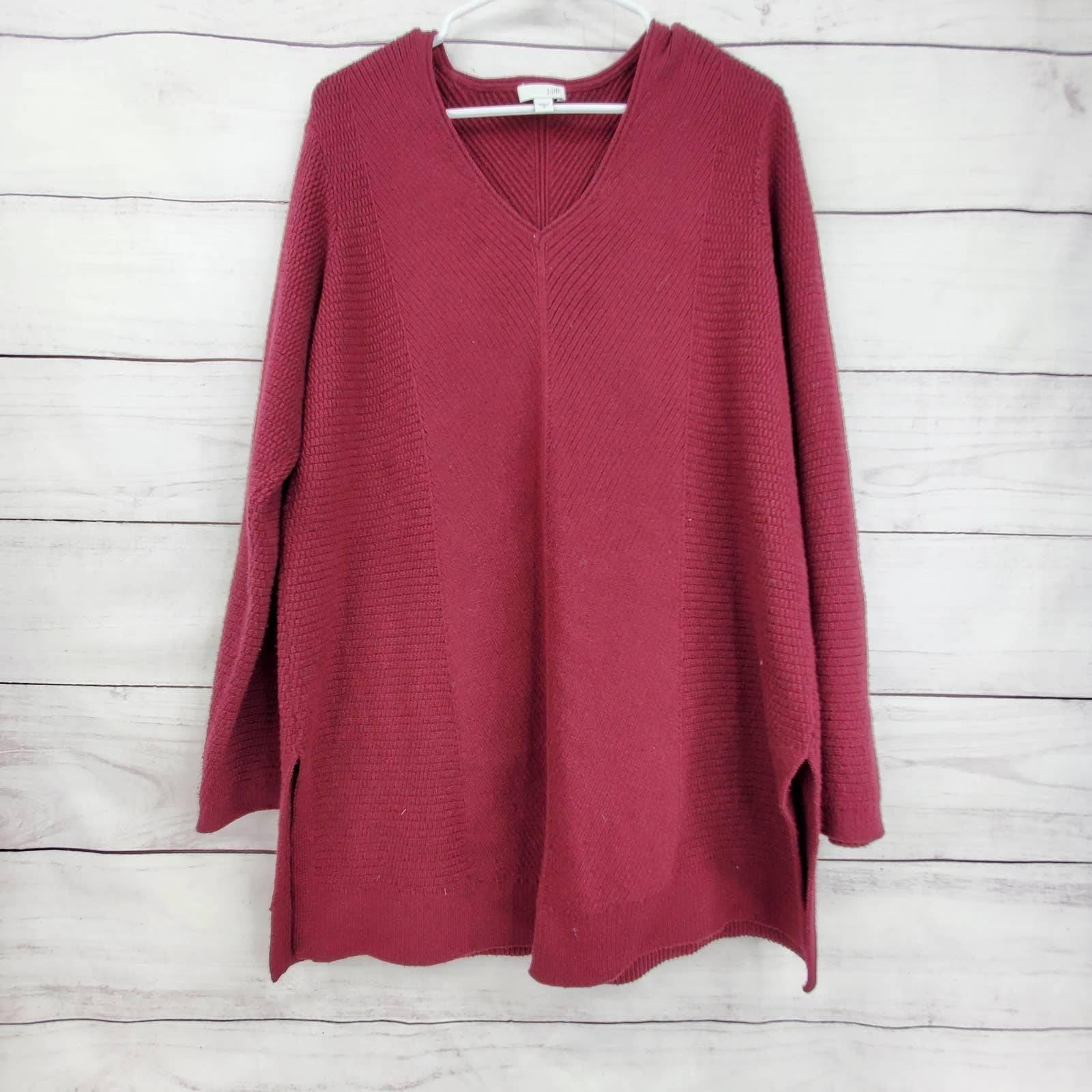 J. Jill Maroon Chunky Oversize Sweater