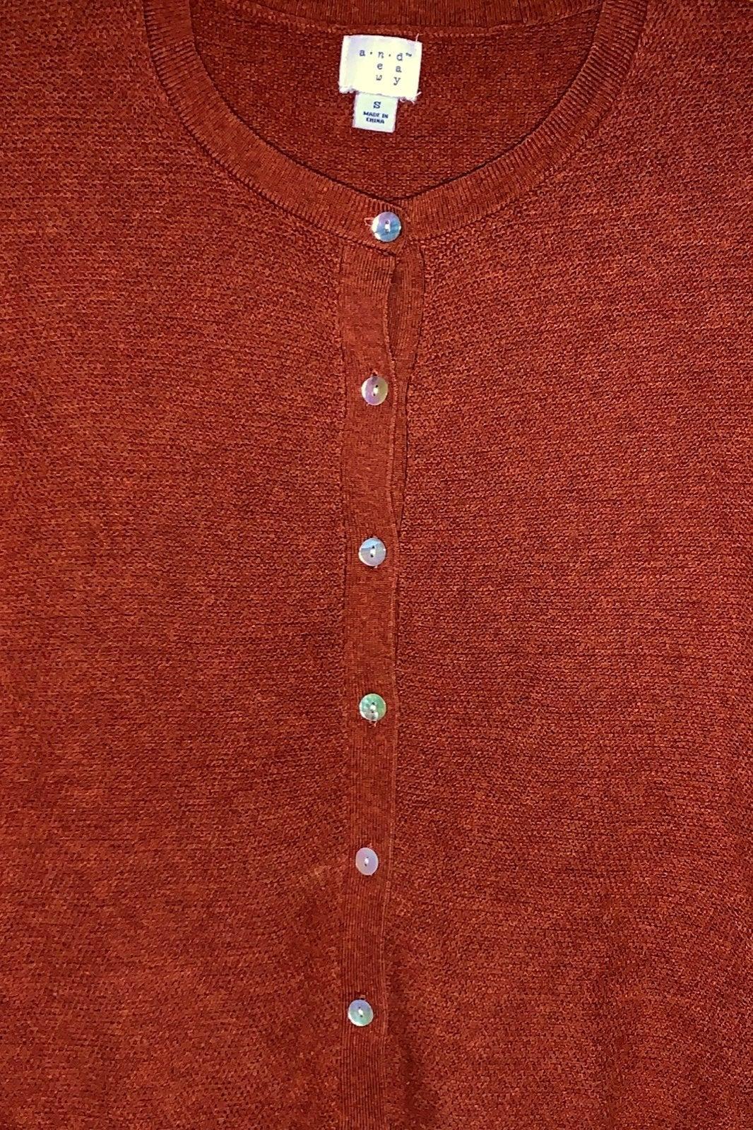 Rust crew neck button down sweater class