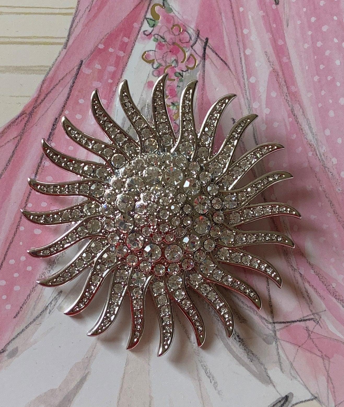 JBK Pave Crystal Starburst Brooch Pin