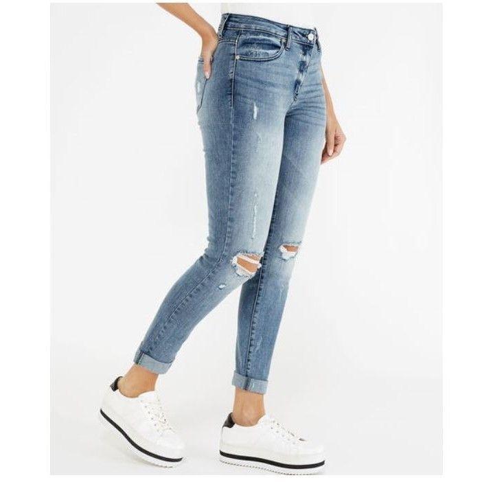 Kancan High Rise Hem Detail Mom Jeans 25