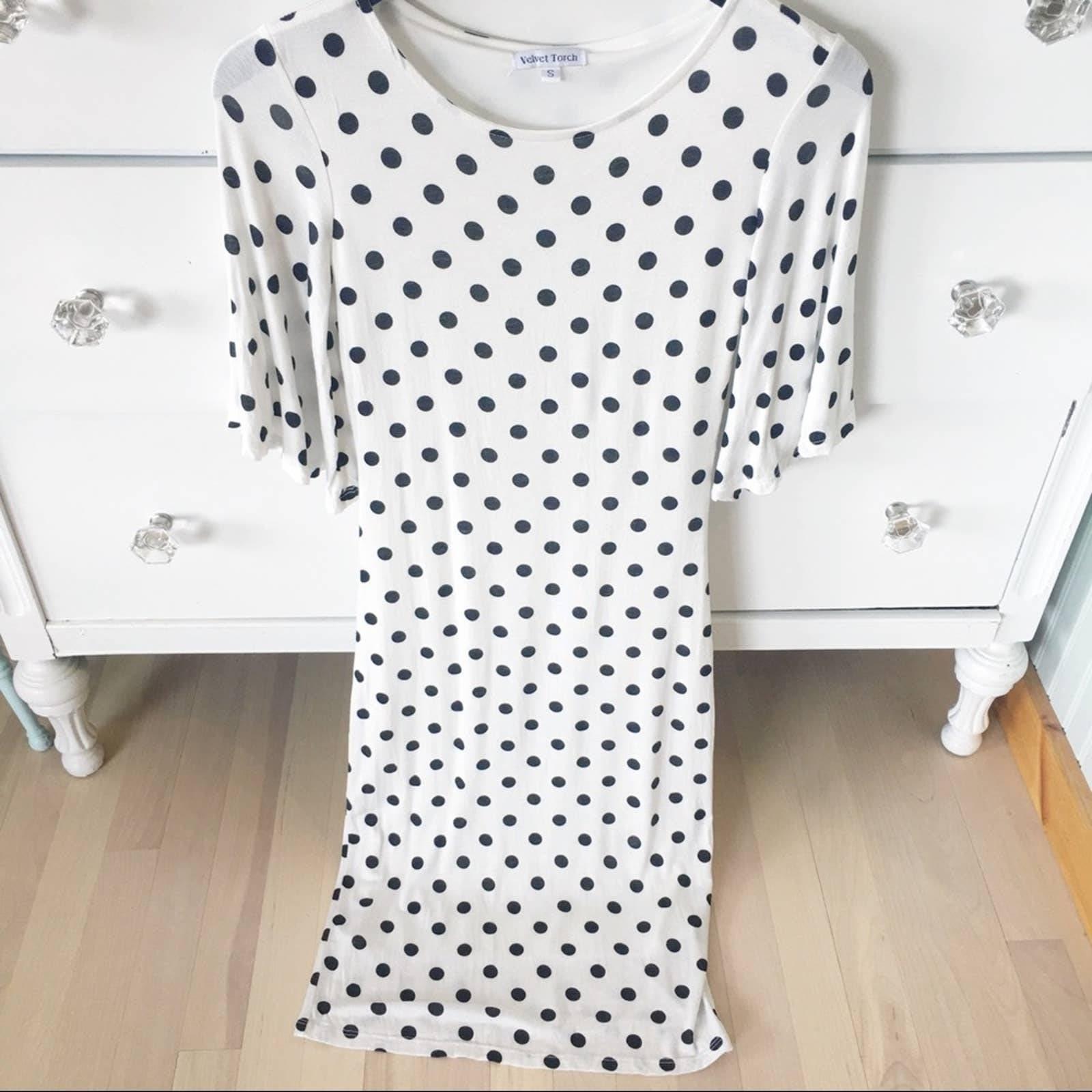 Velvet Torch white polka dot dress S