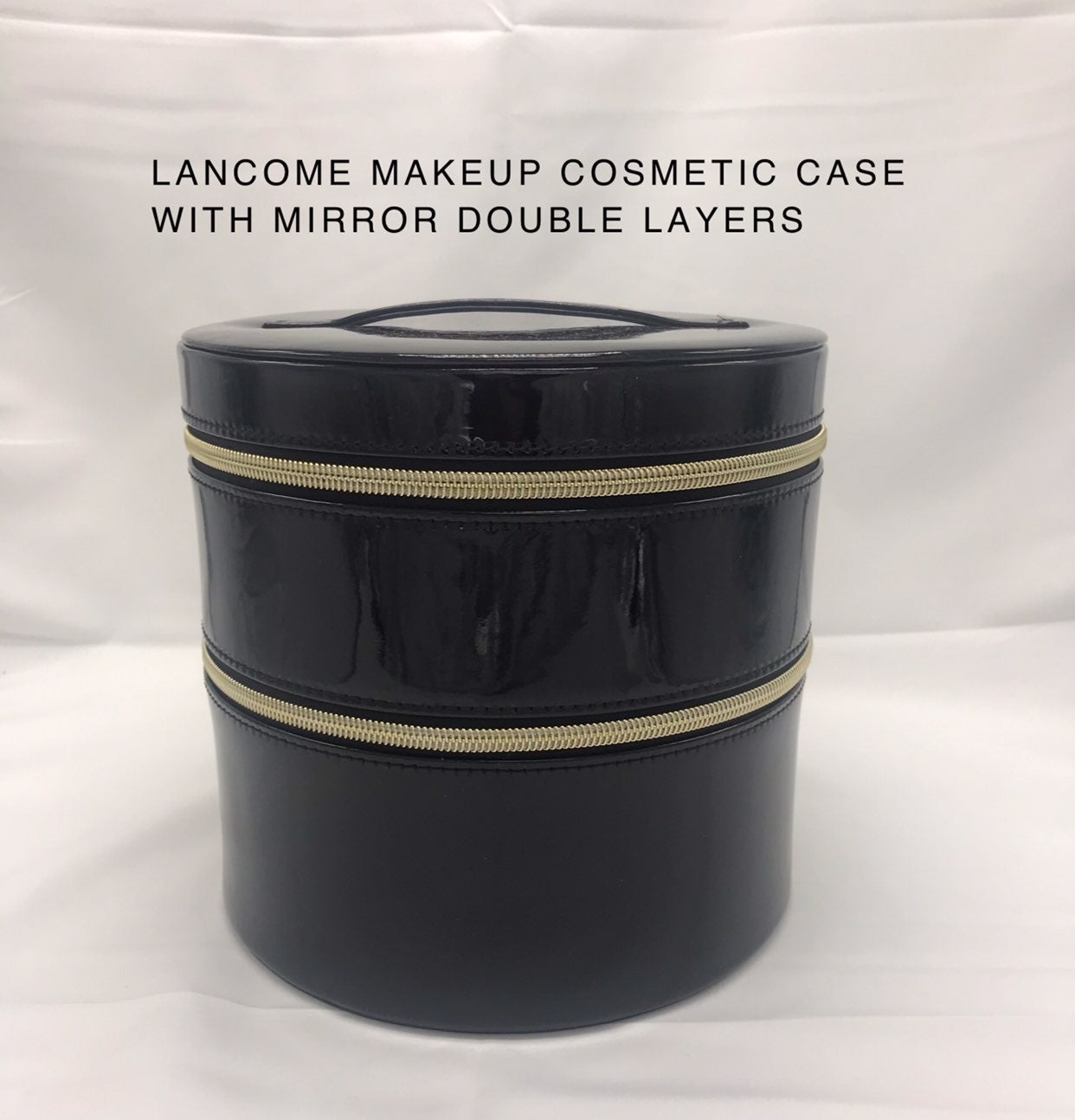 LANCOME BLACK SHINY MAKEUP COSMETIC CASE