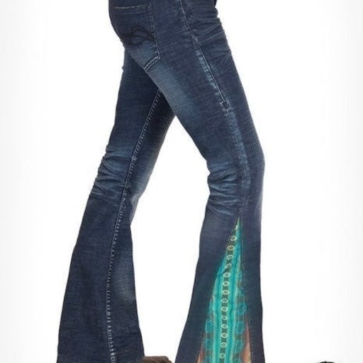 $110 Cowgirl Tuff Aztec Flare Jeans
