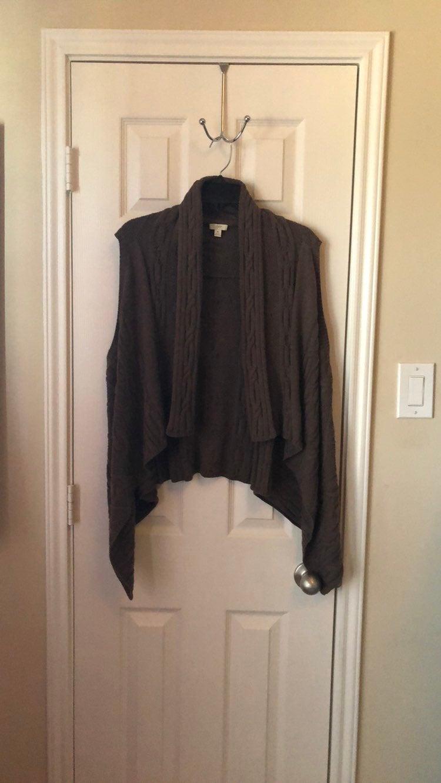 J. Jill brown cable knit vest cardigan s