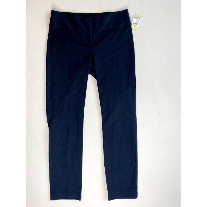 Alfani Curvy-Fit Pants Stretchy Women's 4 Blue Slim-leg Wide-Waistband NWT