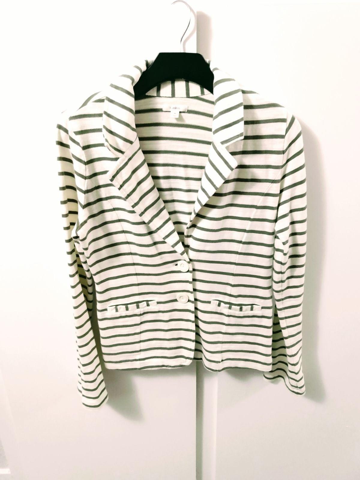 NWOT Caslon Green Striped Cotton Blazer