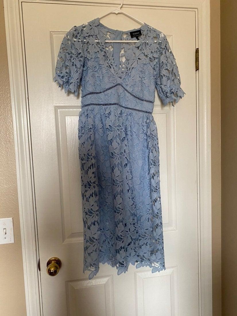 Baby Blue Bardot Lace dress