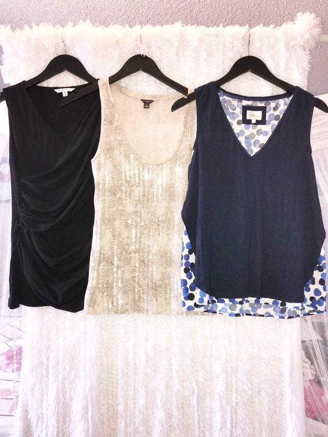 Lot 3 Women's SM Tank Top Shirts Sequin