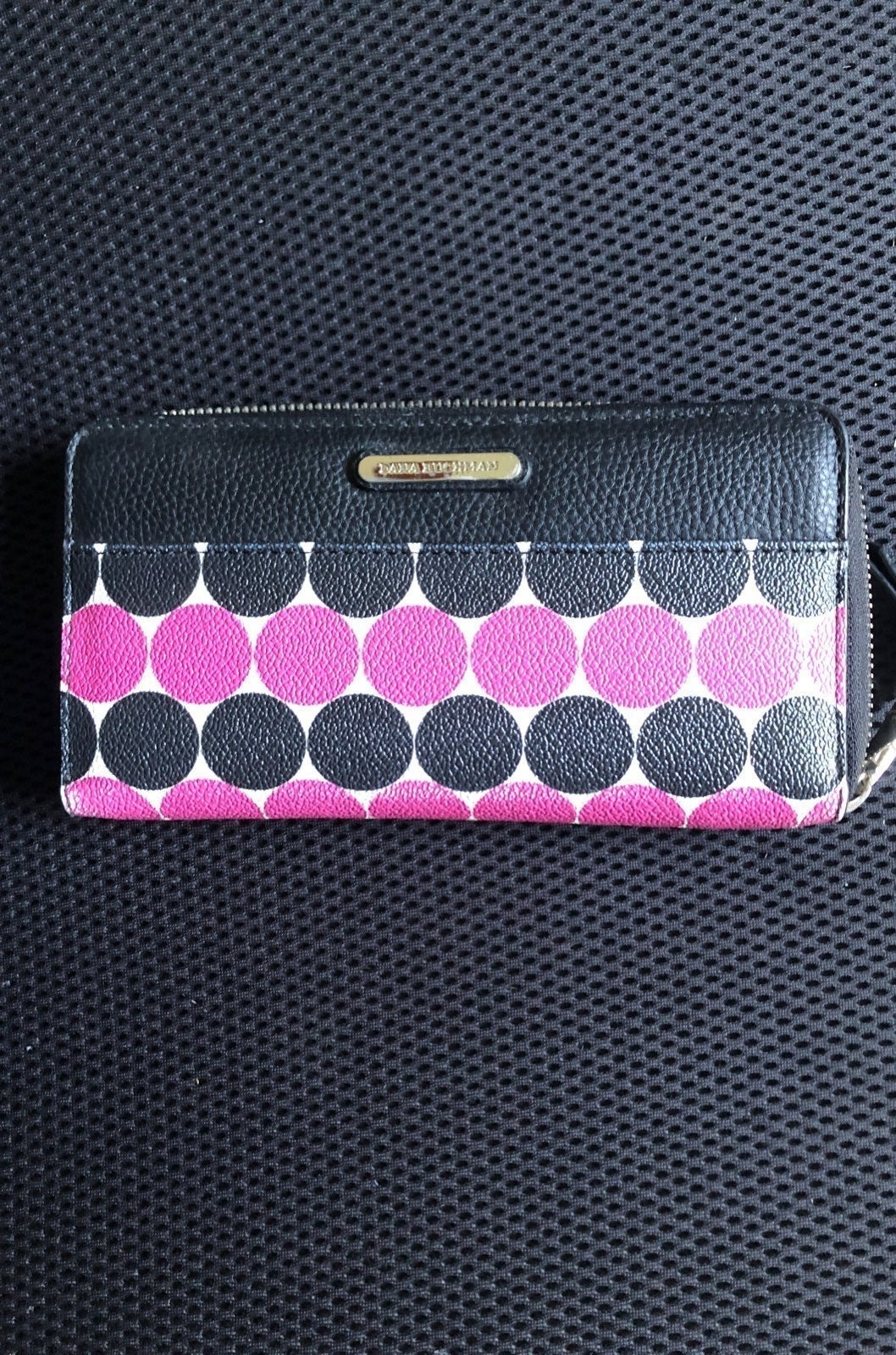 Dana Buchman black and pink clutch walle