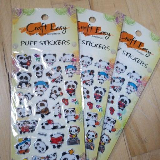 3D Puffy panda stickers