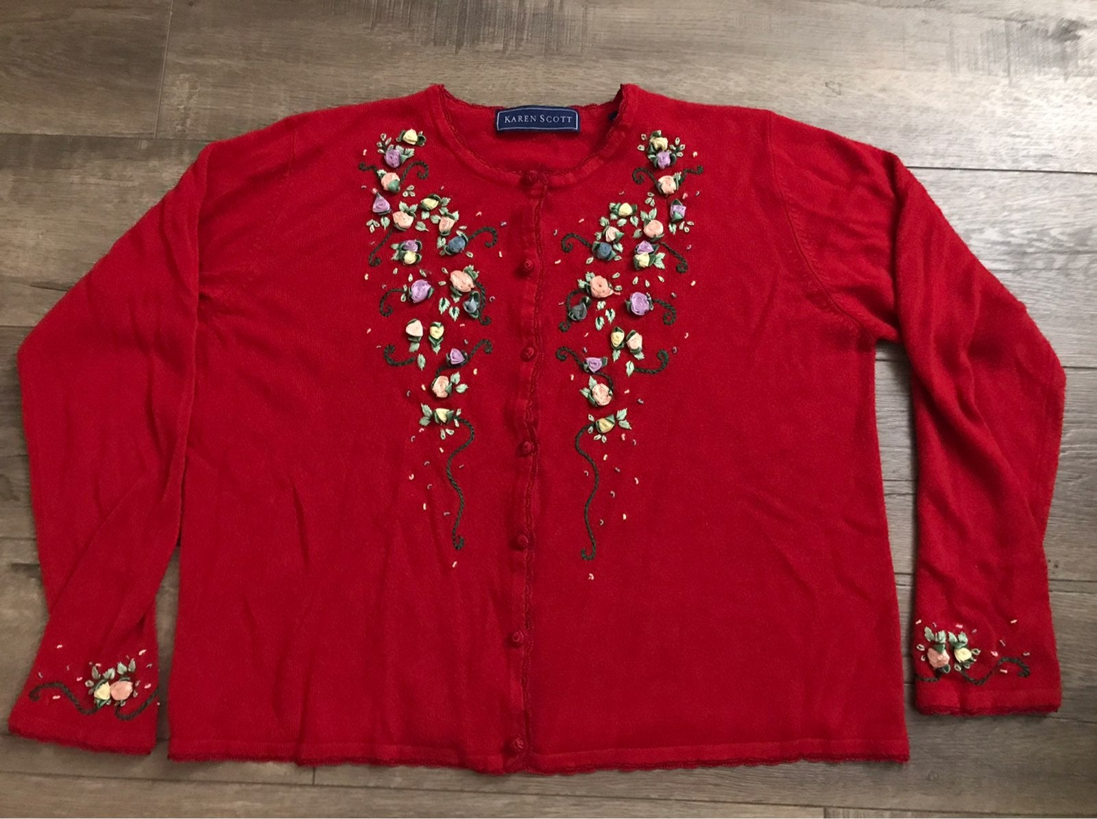 Floral Embroidered Cardigan Red XL