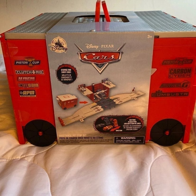 Pixar Cars Racetrack Pit Stop Set built-