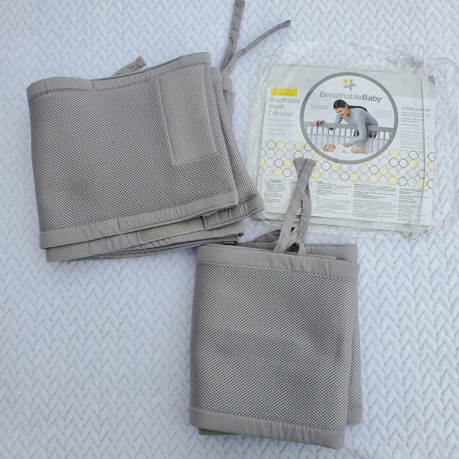 Breathable Mesh Crib Liner Light Gray