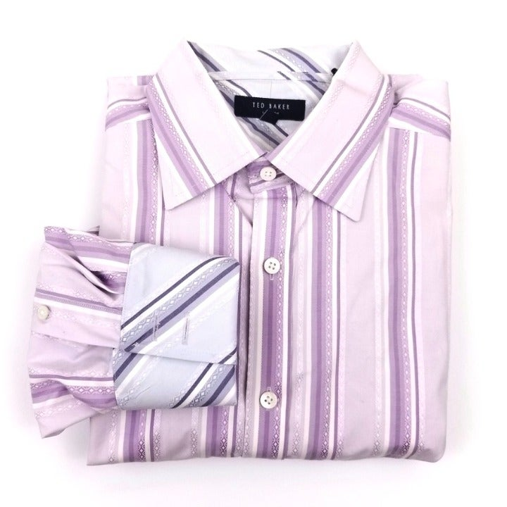TED BAKER Purple French Cuff Dress Shirt