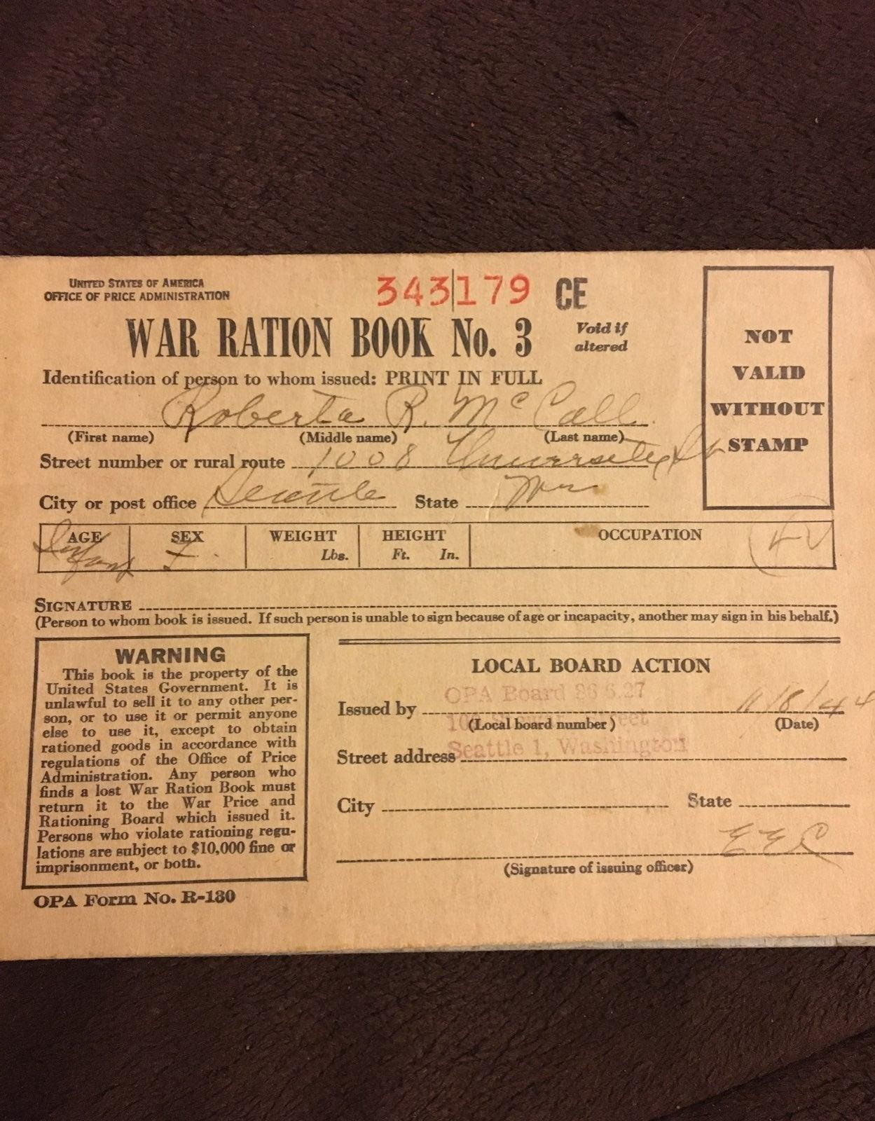 1944 war ration book No.3