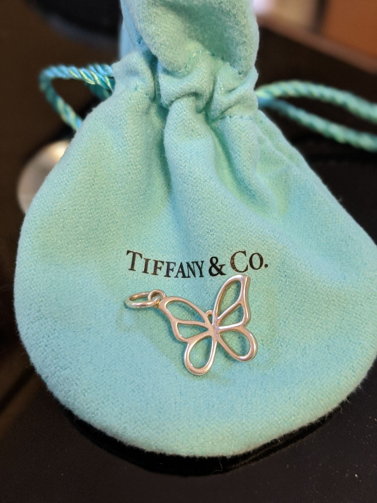 Tiffany butterfly silver charm necklace