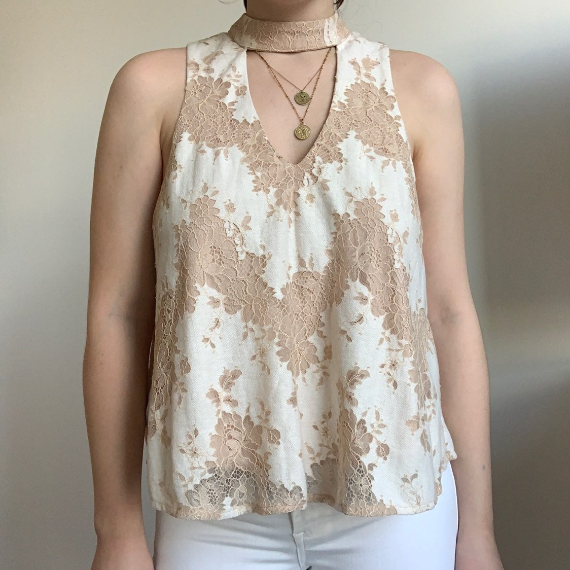 Abbeline white and cream lace blouse