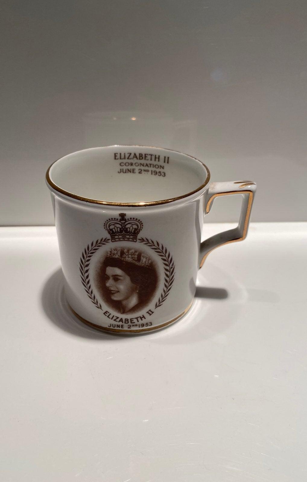 Vintage Elizabeth II coronation mug
