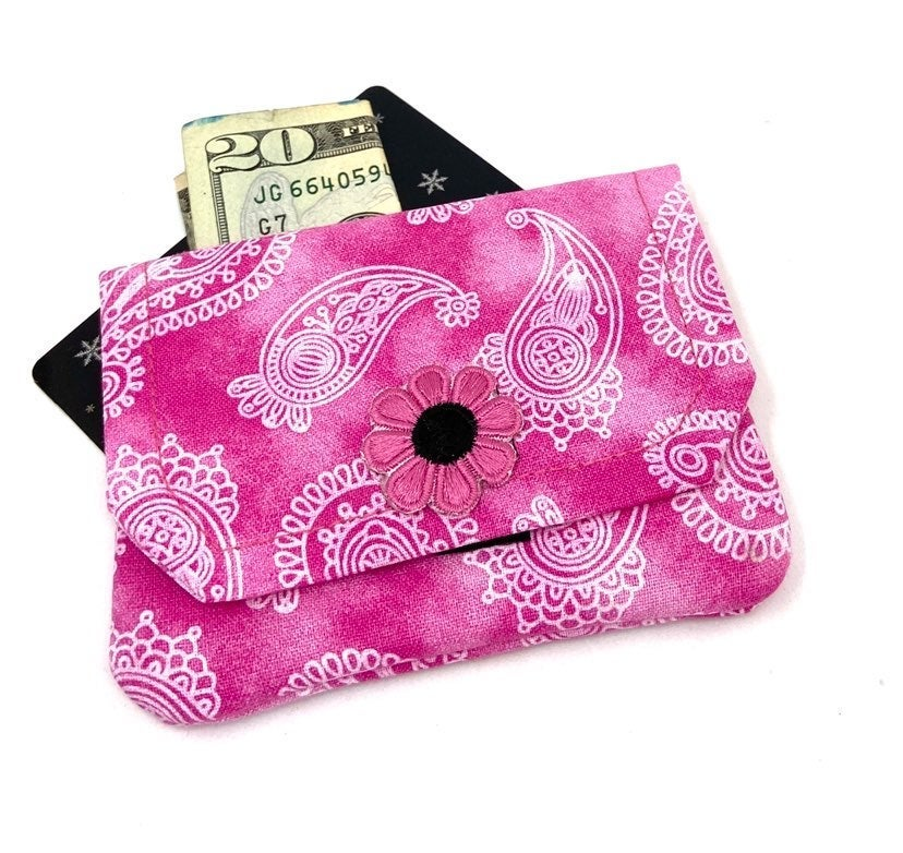 Pink Paisley Fabric Card Wallet- Handmad