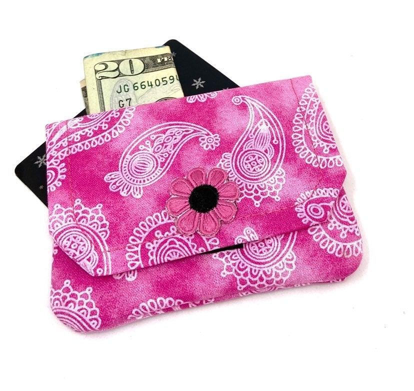 Pink Paisley Fabric Card Wallet- Handmad