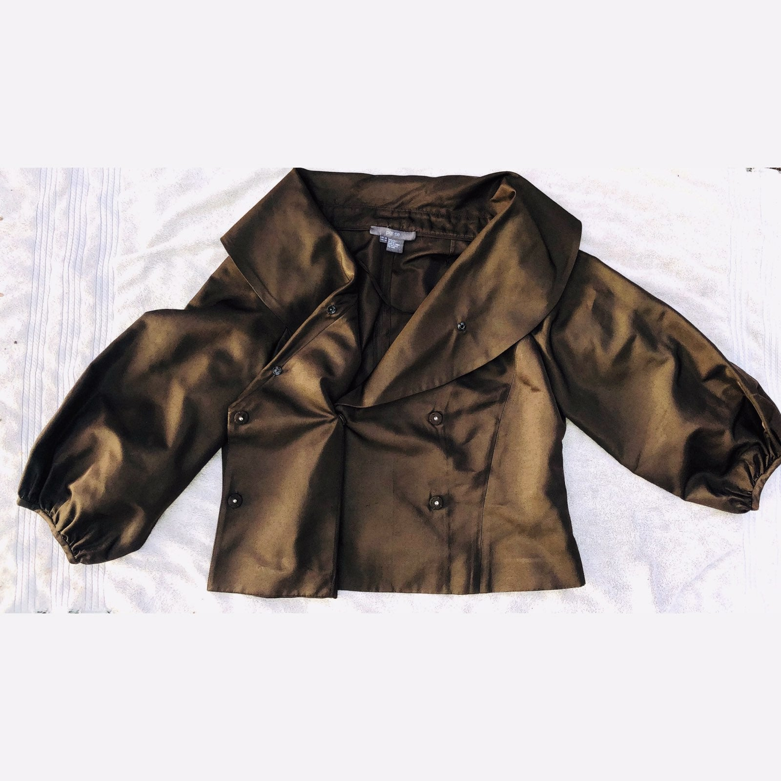 100% Silk DBL Breasted Peacoat