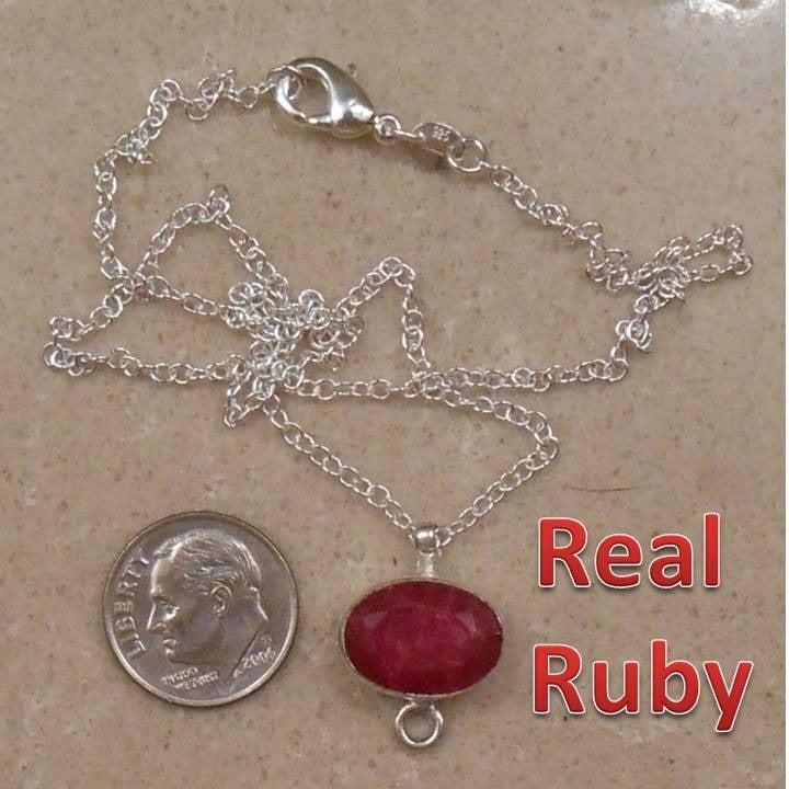 RUBY sterling silver necklace SJ986-125