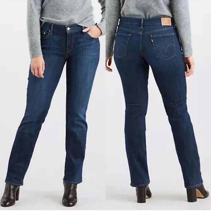 Levis 505 Straight Mid Rise Dark Jeans