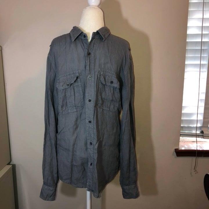 VINCE Linen Cotton Button Down Shirt M