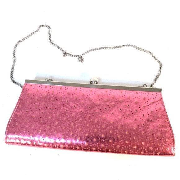 Candies Pink Handbag Shoulder Bag Pocketbook Crossbody Long Silver Bubblegum
