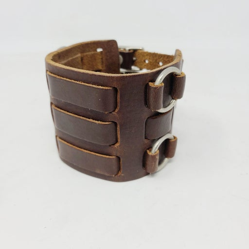 Wide Brown Leather Men's Cuff Adjustable