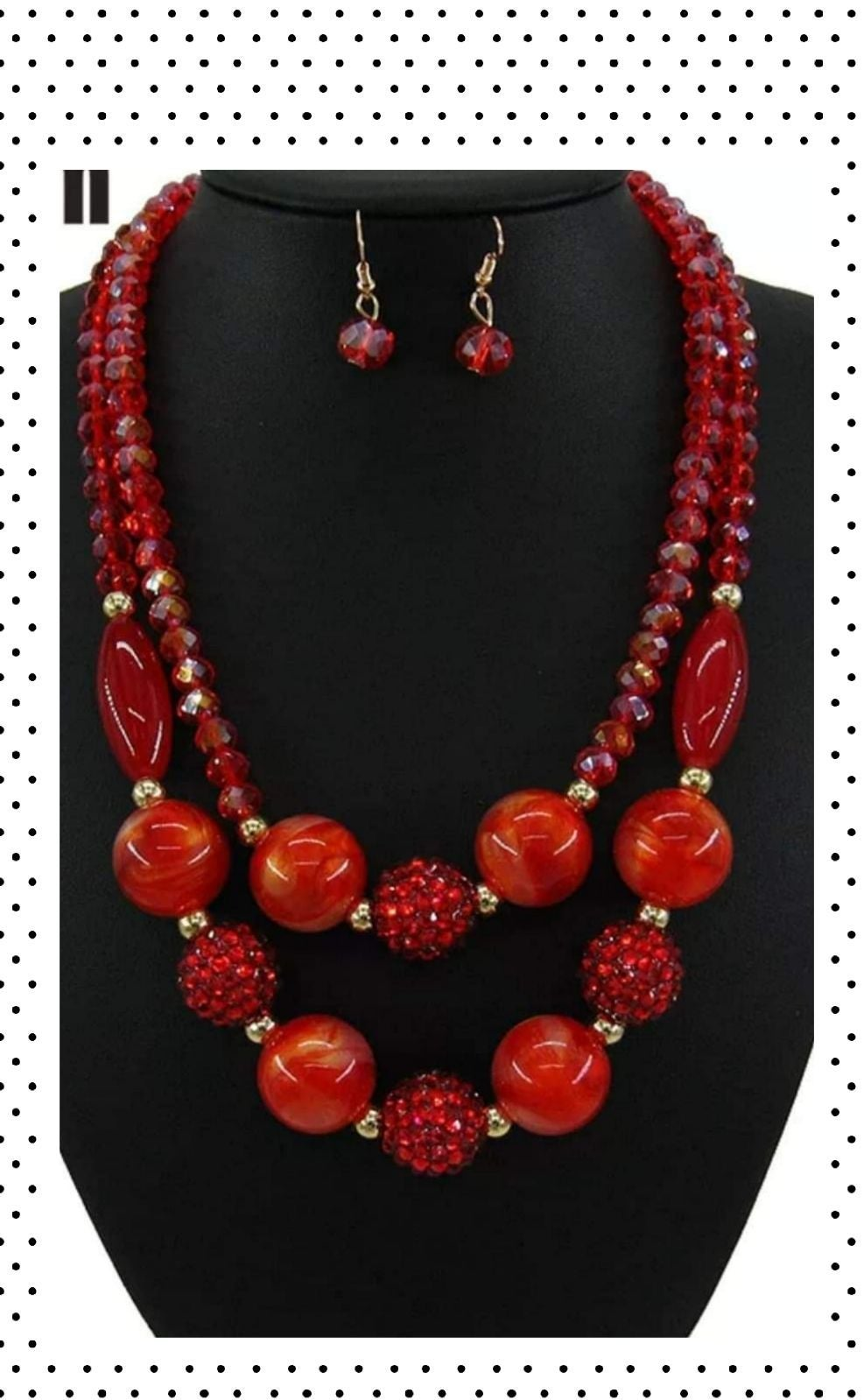 Cherry Red Crystal Beads Necklace set