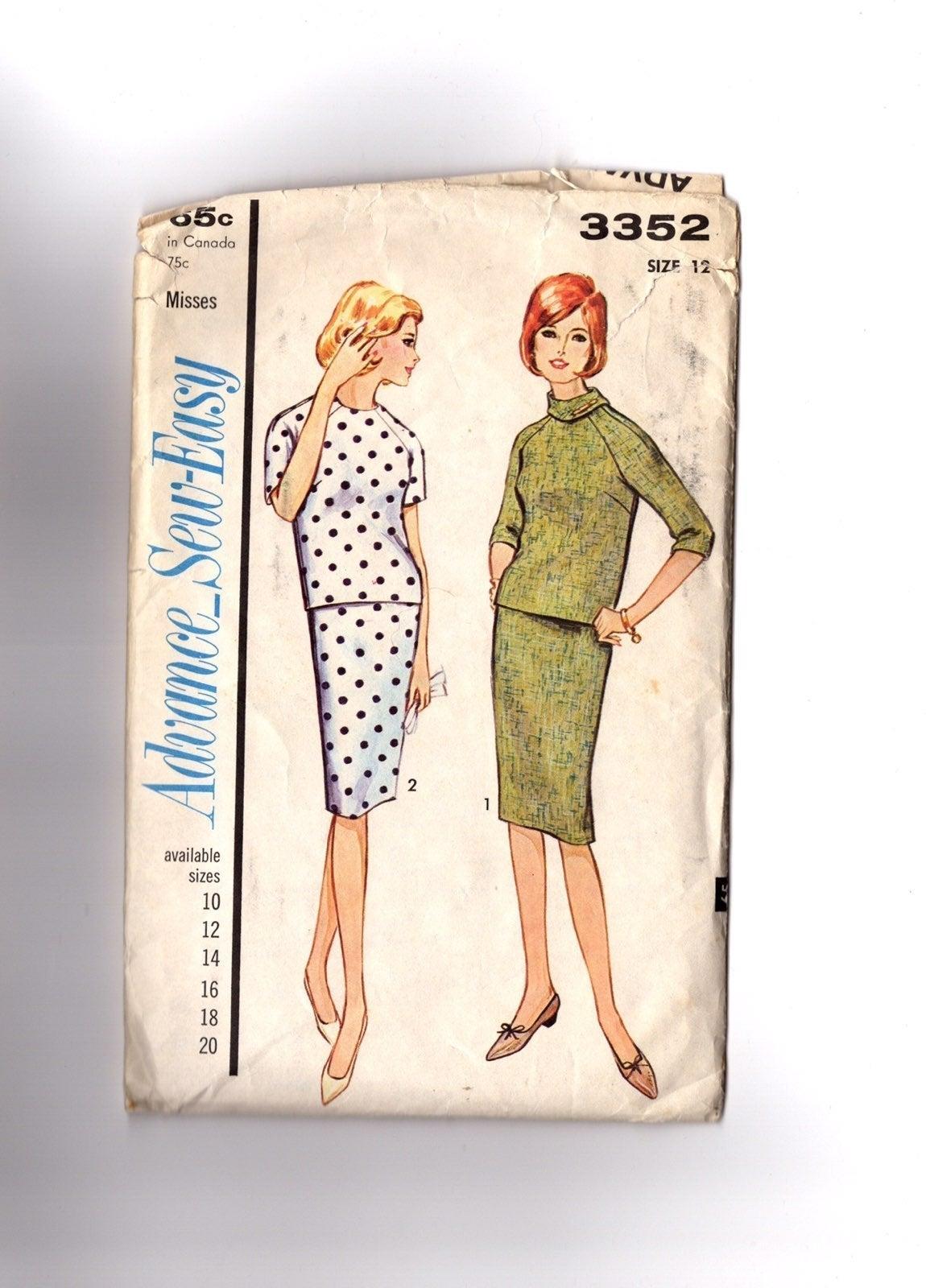 vintage clothing patterns 2-piece dress.