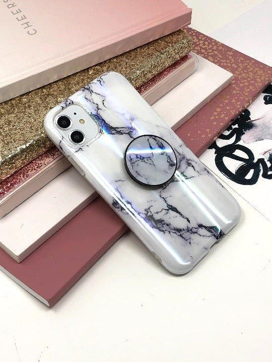 iPhone 11 White Marble Case w/Pop Grip