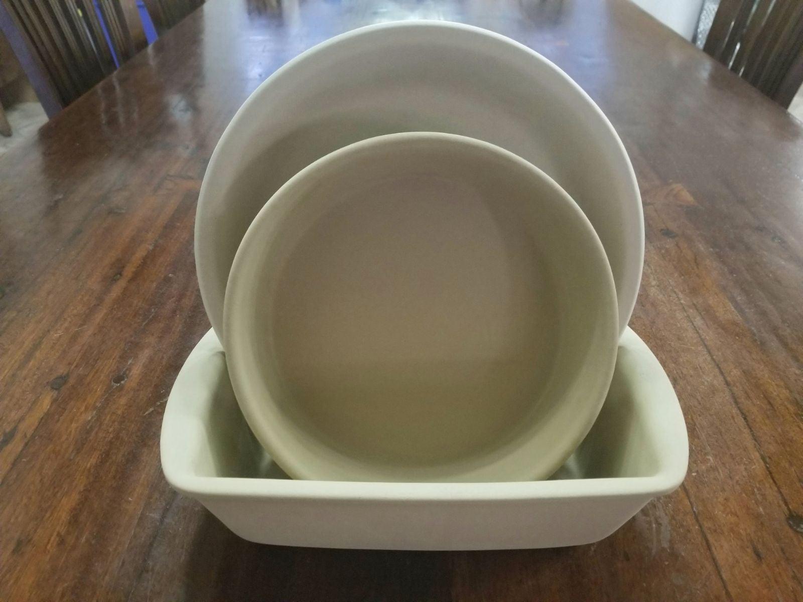 Pampered Chef Stoneware 3pc Baking Set