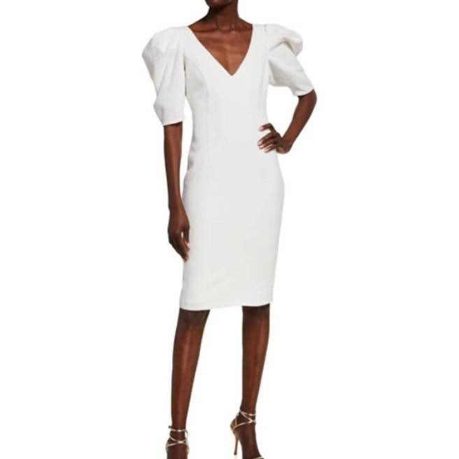 Bardot fergie midi puffy sleeve white pl