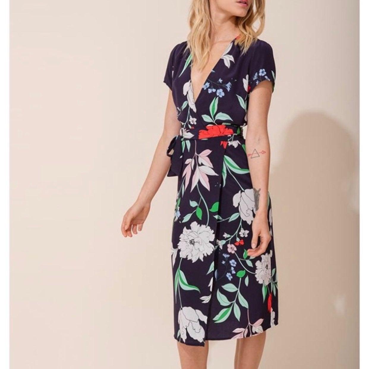 Yumi Kim Silk Midi Wrap Floral Dress L