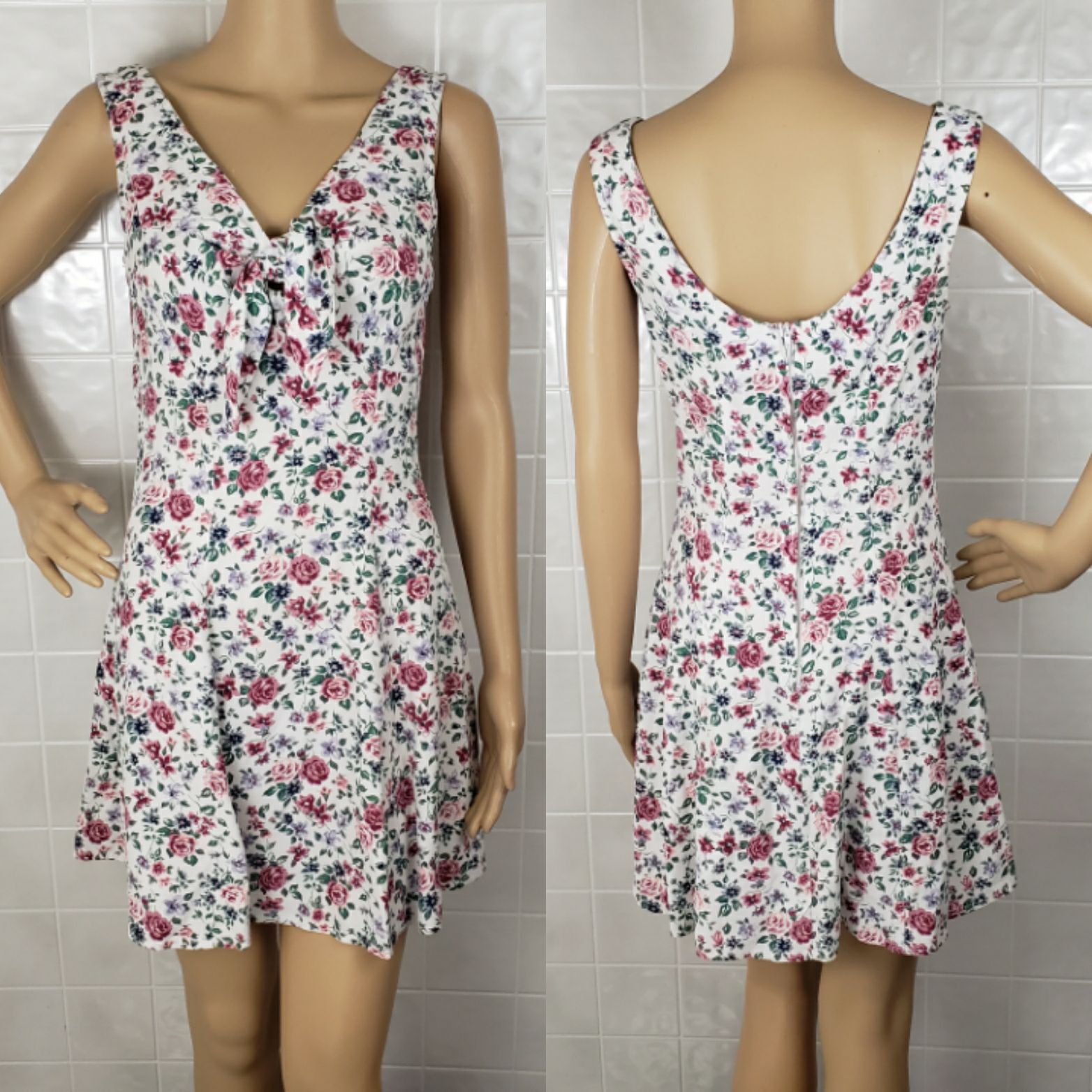 S vintage 90s floral a-line flare dress