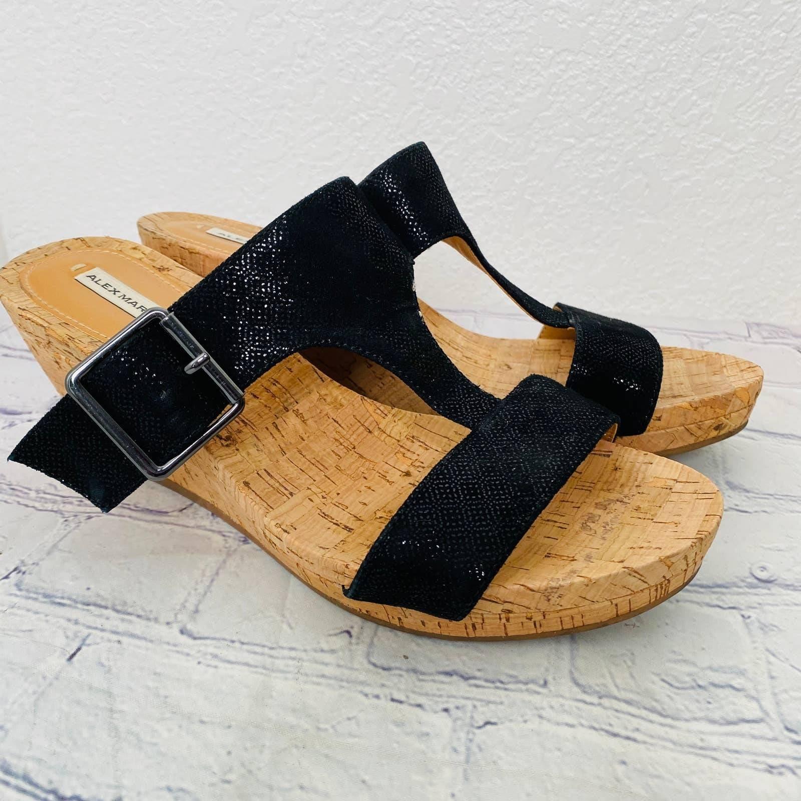 Alex Marie black shimmer cork wedge 7.5