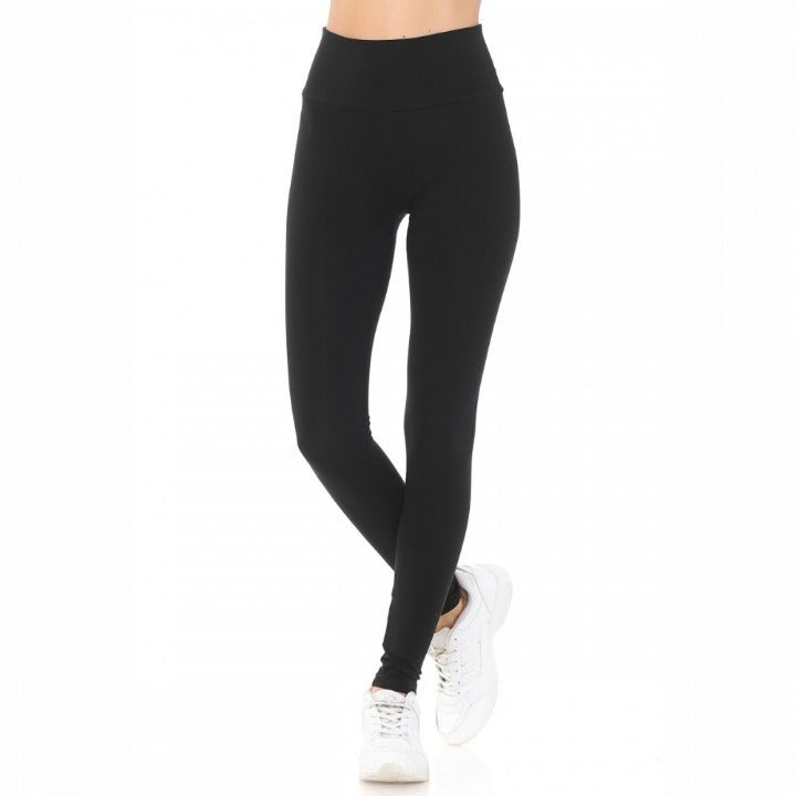 WOMEN'S SOLID HIGH WAIST YOGA PANTS