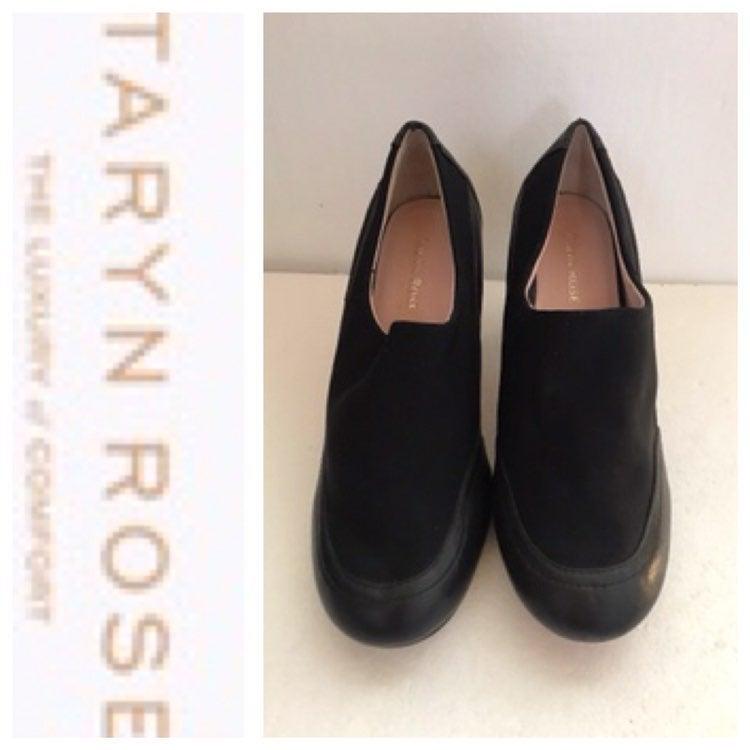 TARYN ROSE Black Fabric Leather Pump Sz