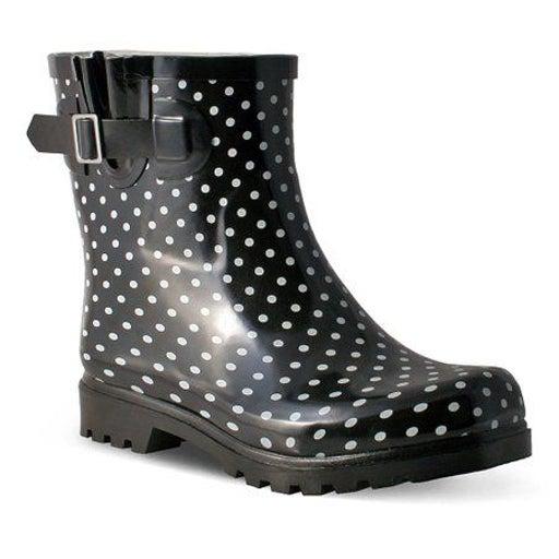 Nomad Black & White Polka Dot Rain Boots