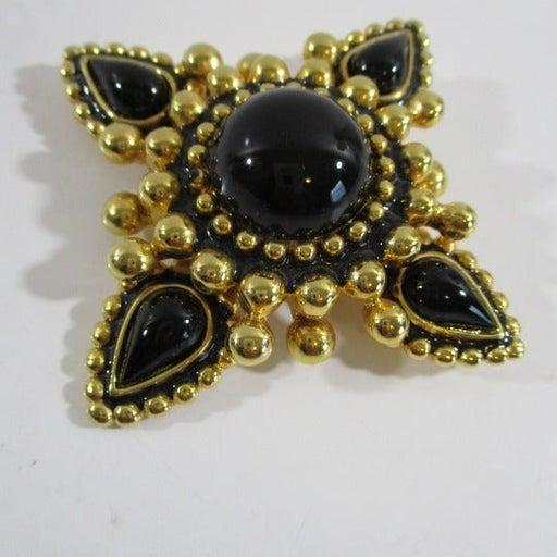 """VTG Craft Black & Gold 4  Star Brooch 3"""""""
