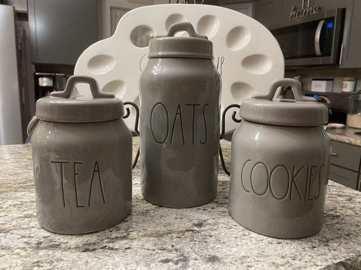 rae dunn gray canisters