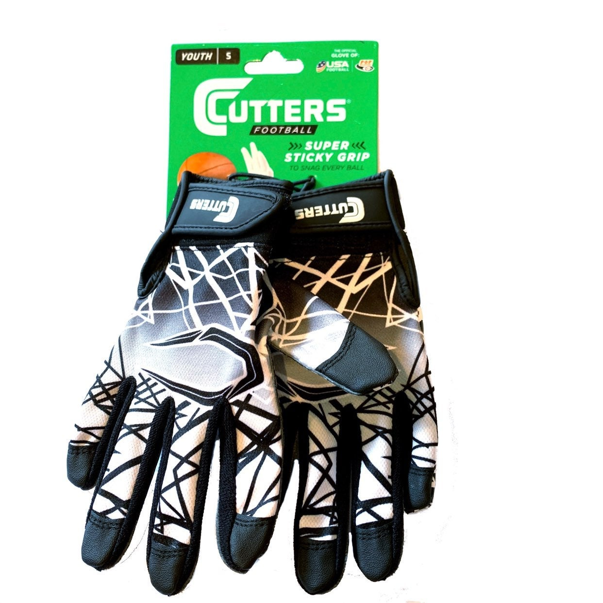 Cutters Youth S sticky Football gloves