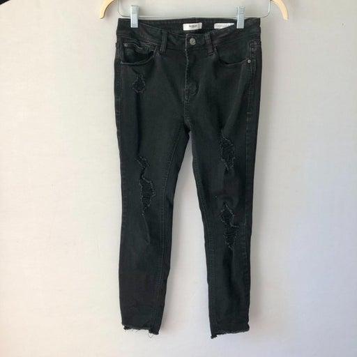 Kensie Effortless Ankle Distressed Black Jeans 26