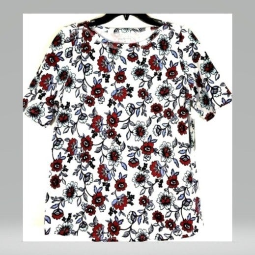 KIM ROGERS WOMENS KNIT TOP FLORAL NWT