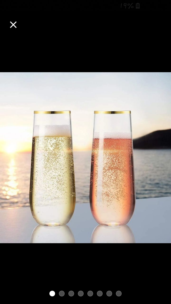 gold rim stemless wine/champagne glasses